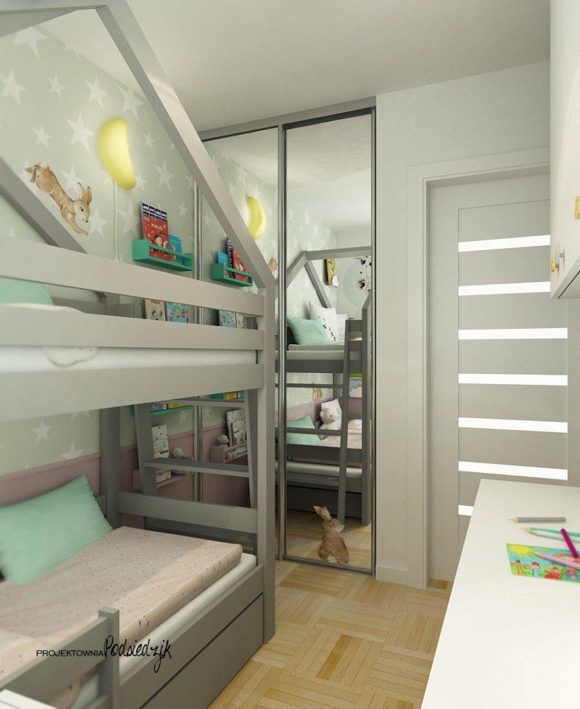 Projektant wnętrz Kluczbork - Projekt małego pokoju dla rodzeństwa, łóżko piętrowe domek