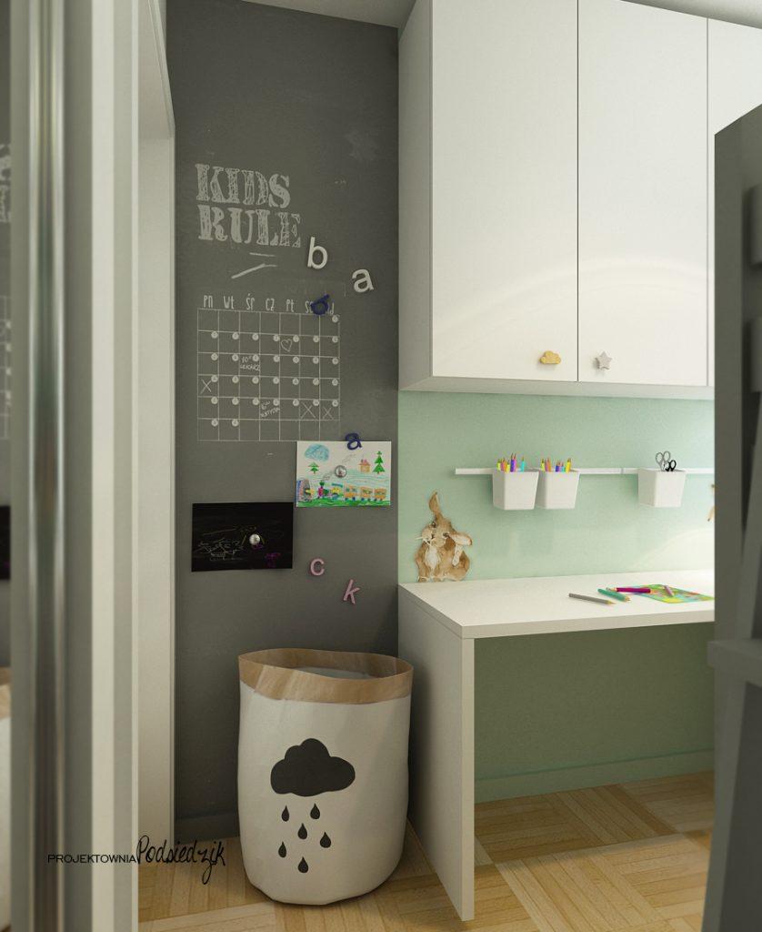 Projektowanie wnętrz Kluczbork - Projekt małego pokoju dla rodzeństwa, łóżko piętrowe domek