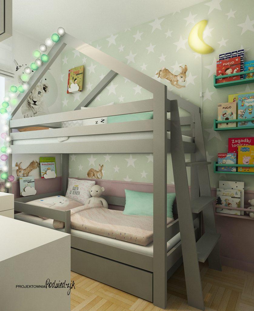Architekt wnętrz Kluczbork - Projekt małego pokoju dla rodzeństwa, łóżko piętrowe domek