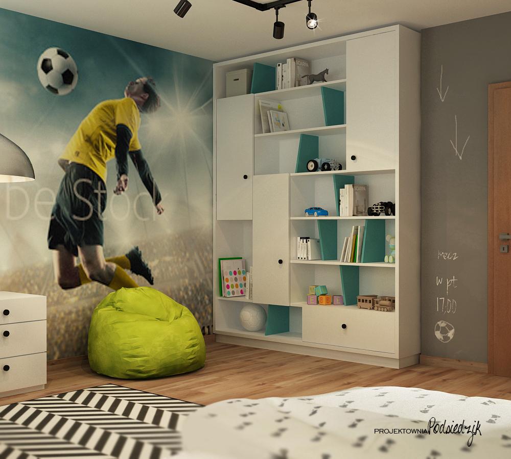Projektowanie pokoi Krapkowice Kluczbork Opolskie - nowoczesny pokój młodzieżowy piłkarza