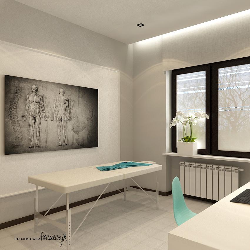 Projektowanie wnętrz użyteczności publicznej Kluczbork Olesno Opolskie - projekt gabinetu fizjoterapii styl nowoczesny, styl glamour