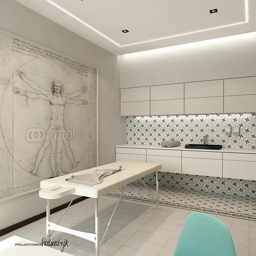 Projektowanie wnętrz punktów usługowych Kluczbork Olesno Opolskie - projekt gabinetu fizjoterapii styl nowoczesny, styl glamour