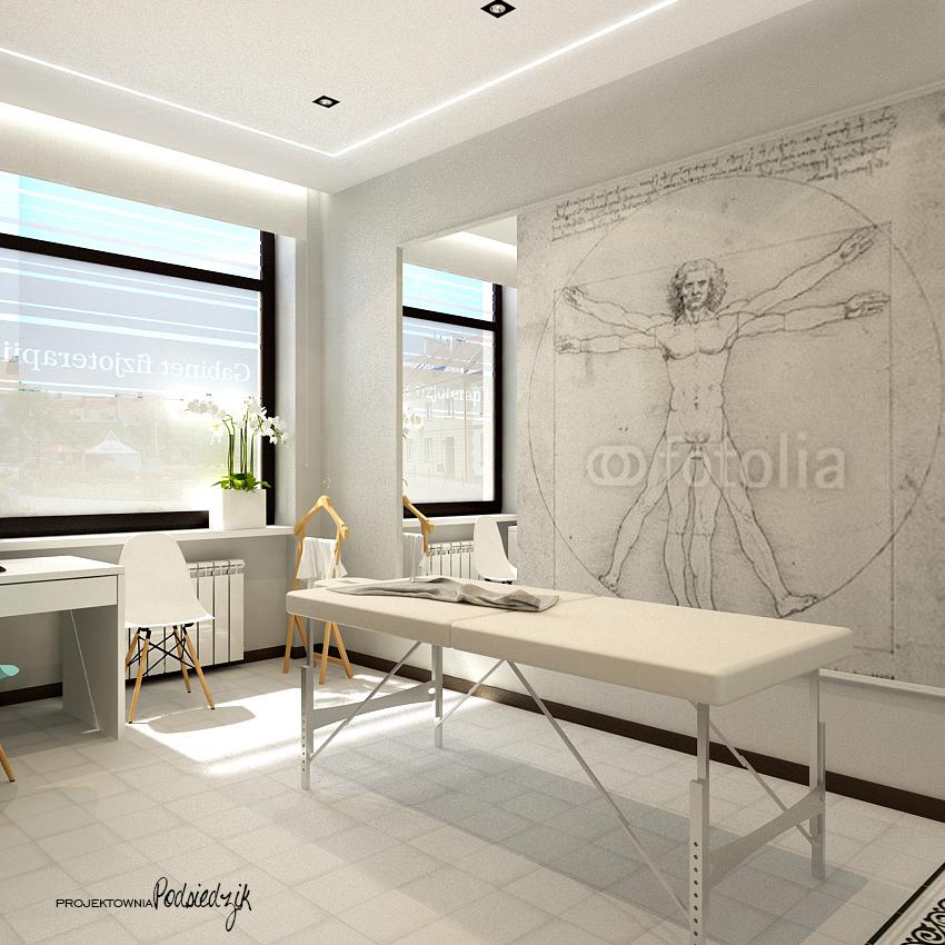 Projekty wnętrz lokali użytkowych Kluczbork Olesno Opolskie - projekt gabinetu fizjoterapii styl nowoczesny, styl glamour