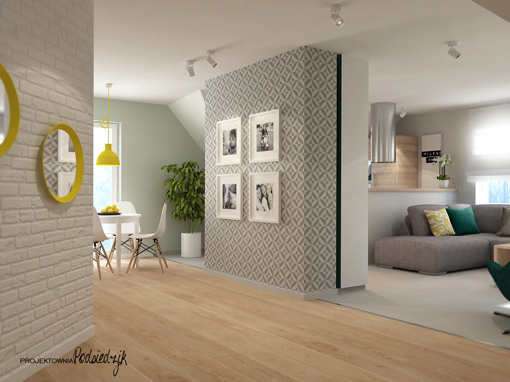 Projekt mieszkania na poddaszu - jadalnia Liszczok - projekty wnętrz Kluczbork, Opolskie