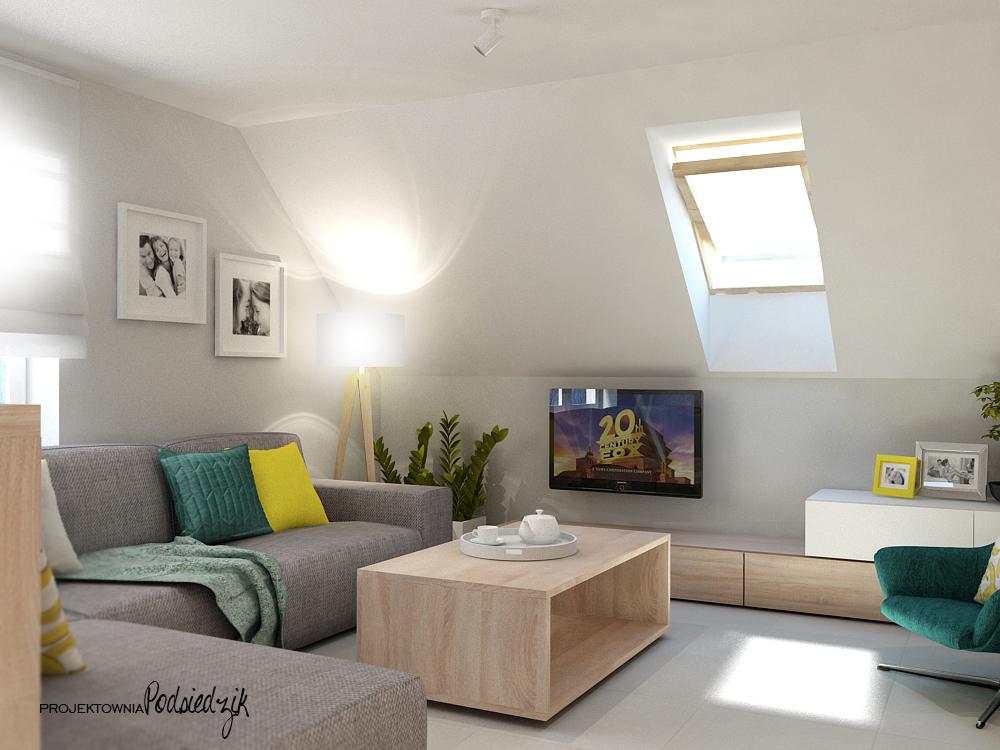 Projekt mieszkania na poddaszu - salon z kominkiem Liszczok - projekty wnętrz Kluczbork, Opolskie