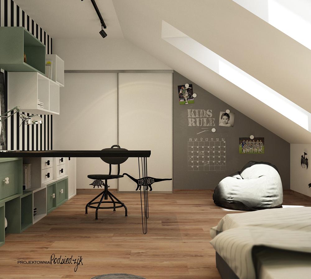 Projektant wnętrz Krapkowice Opolskie - projekt pokoju dla nastolatka chłopca