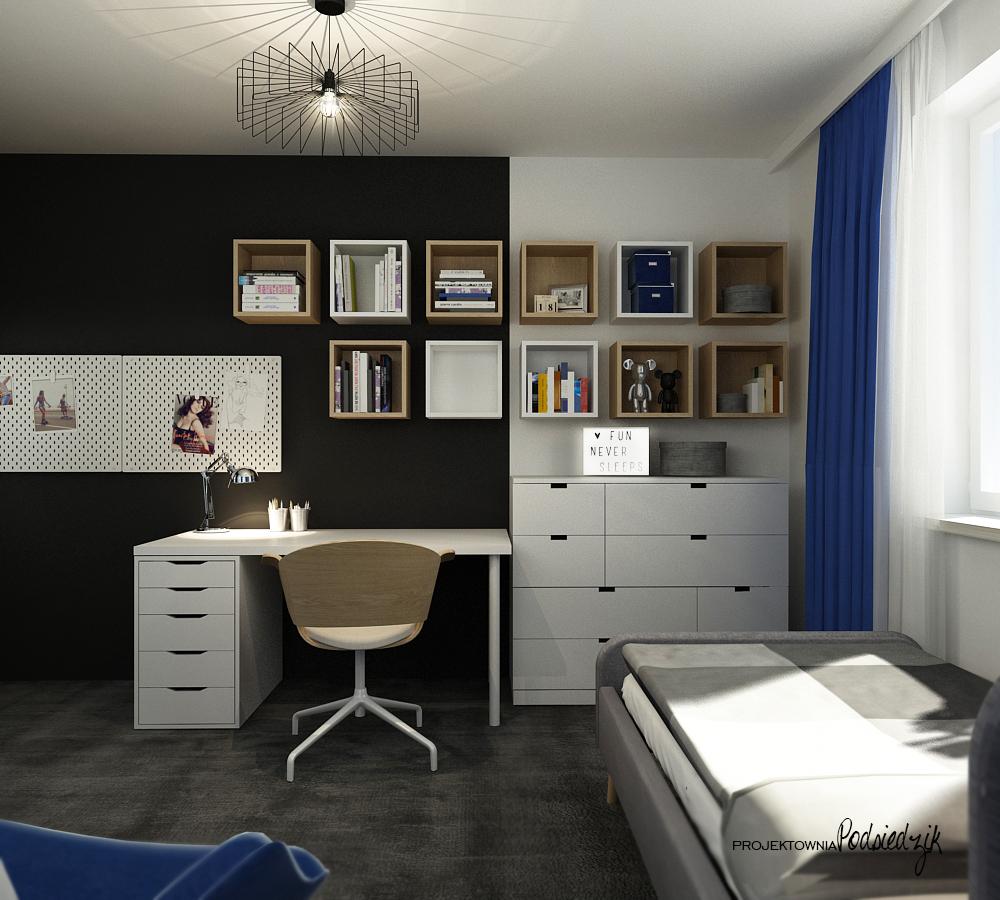 Projekty wnętrz Olesno - projekt pokóju dla nastolatki półki kubik, wykładzina grafitowa, czarna ściana, meble z sieciówki, tablice magnetyczne, druciana lampa, grafika na ścianie, neon fun never sleeps, komoda z sieciówki, granatowe zasłony, łóżko tapicerowane