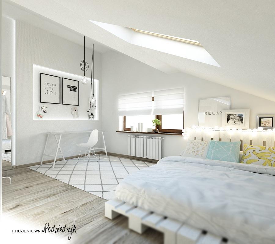 Projektowanie wnętrz Olesno - projekt pokoju nastolatki na poddaszu, skandynawskie wnętrze, półki skrzynki, otwarta szafa, blat na kozłach, łóżko na paletach, cotton balls, podświetlona wnęka, kolorowe kable, dywan geometryczny