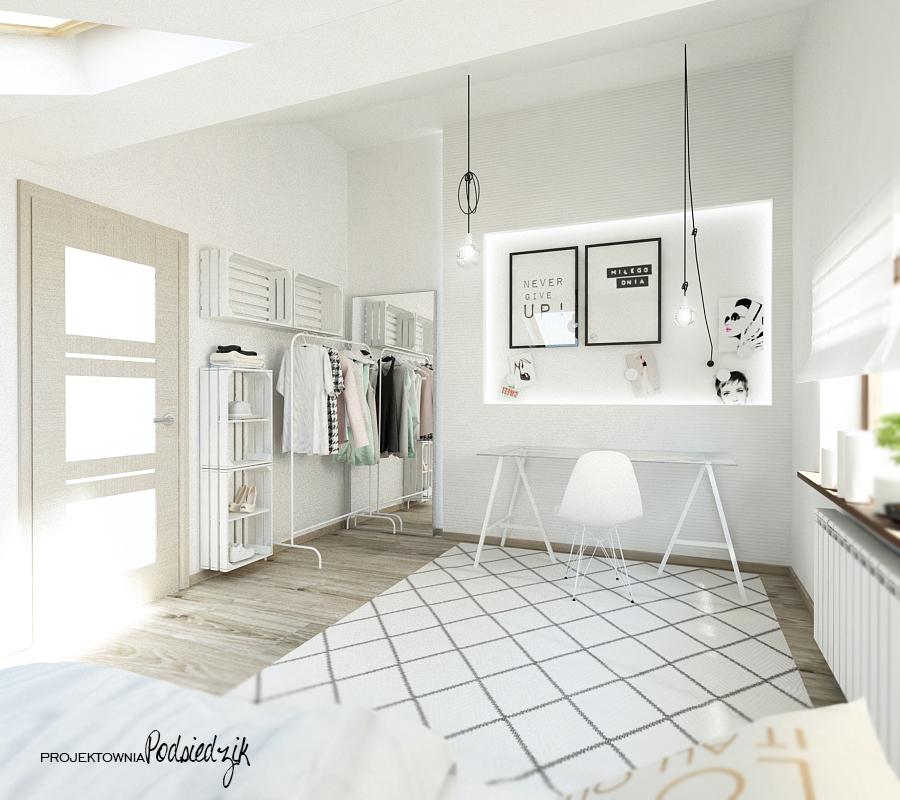 Projektowanie wnętrz Olesno - projekt pokóju nastolatki na poddaszu, skandynawskie wnętrze, półki skrzynki, blat biurka na kozłach, łóżko na paletach, cotton balls, podświetlona wnęka, kolorowe kable, otwarta szafa