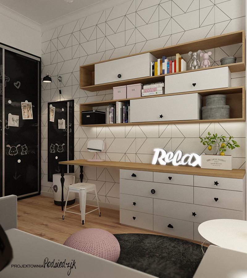 Projektant wnętrz Olesno - projekt pokóju dla nastolatki młodzieżowy Kluczbork Olesno Opolskie