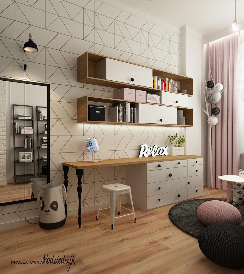 Projektant wnętrz Olesno - projekt pokóju dla nastolatki kiniet naścienny, pufy sznurkowe, biurko dla nastolatki, toaletka, tapeta geometryczna, neon relax