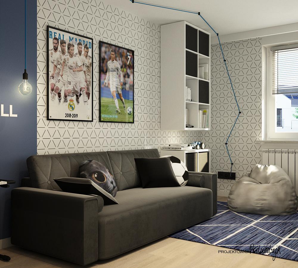 Projektowanie wnętrz mieszkań Pyskowice Kluczbork Opolskie - projekt pokoju dla nastoletniego chłopca piłkarza