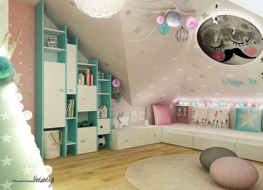 Architekt wnętrz Opolskie - pokój dla rodzeństwa dziewczynki i chłopca na poddaszu ze skosami, pufy z sznurka, naklejka księżyc, namiot tipi, cotton balls, pastelowe kolory we wnętrzu