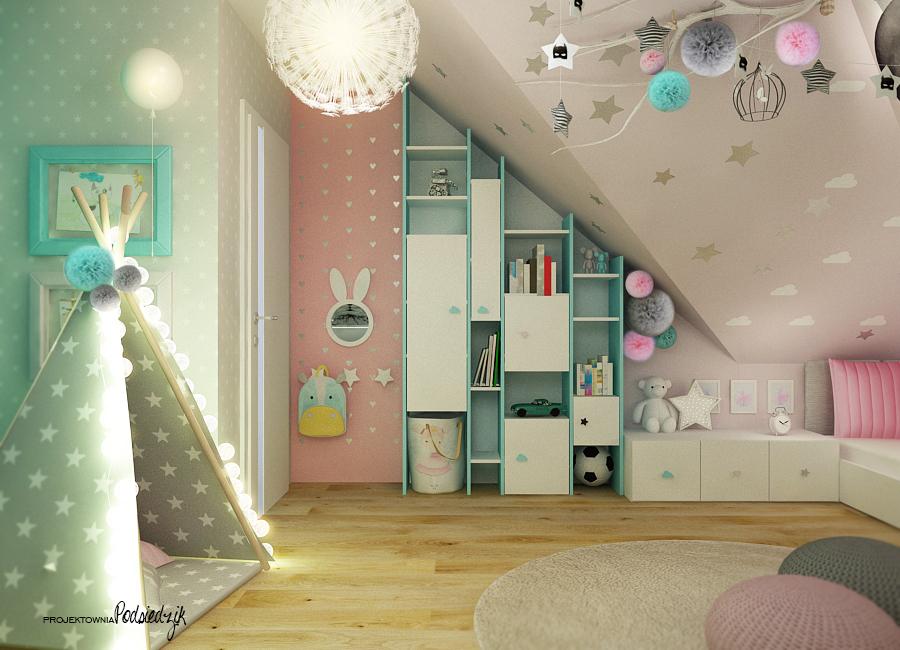Architekt wnętrz Opolskie - pastelowe kolory w pokoju dla rodzeństwa dziewczynki i chłopca namiot tipi w pokoju dziecka