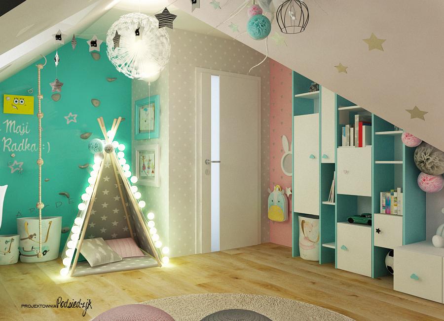 Projektant wnętrz Opolskie - projekt pokoju dla dziewczynki i chłopca ze skosami, namiot tipi, cotton balls, ściana wspinaczkowa w pokoju dziecka, pastelowe kolory we wnętrzu