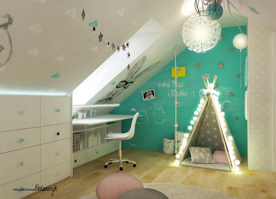 Architekt wnętrz Opolskie - jasny pokój dla rodzeństwa na poddaszu, namiot tipi, ściana wspinaczkowa w pokoju dziecka