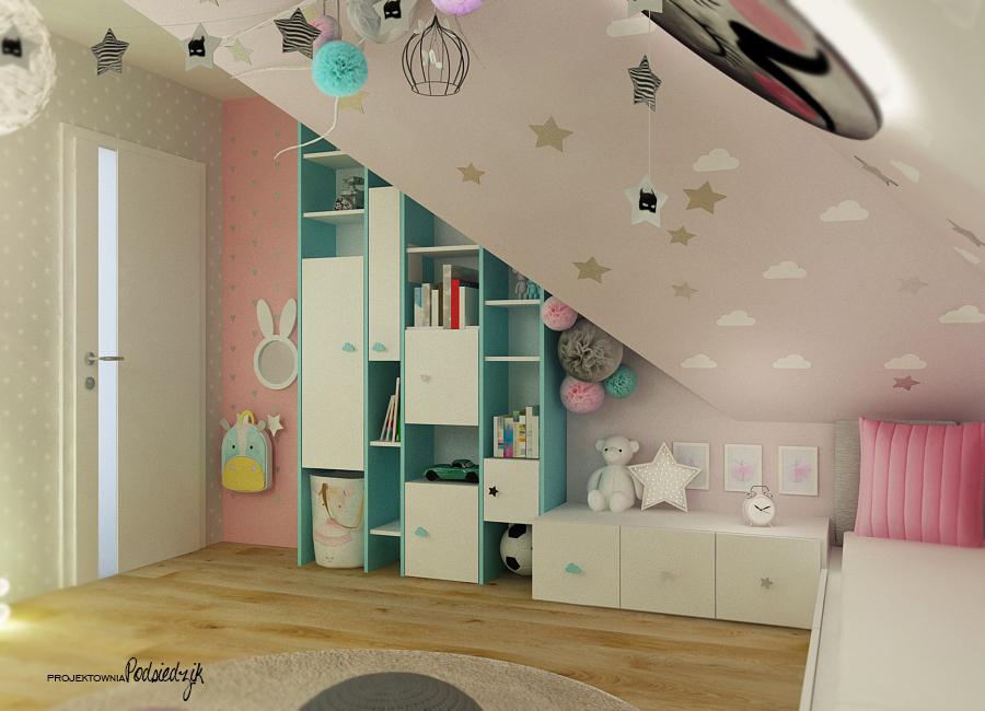 Projektant wnętrz Opolskie - projekt pokoju dla dziewczynki i chłopca na poddaszu ze skosami, pastelowe kolory w pokoju dzieci