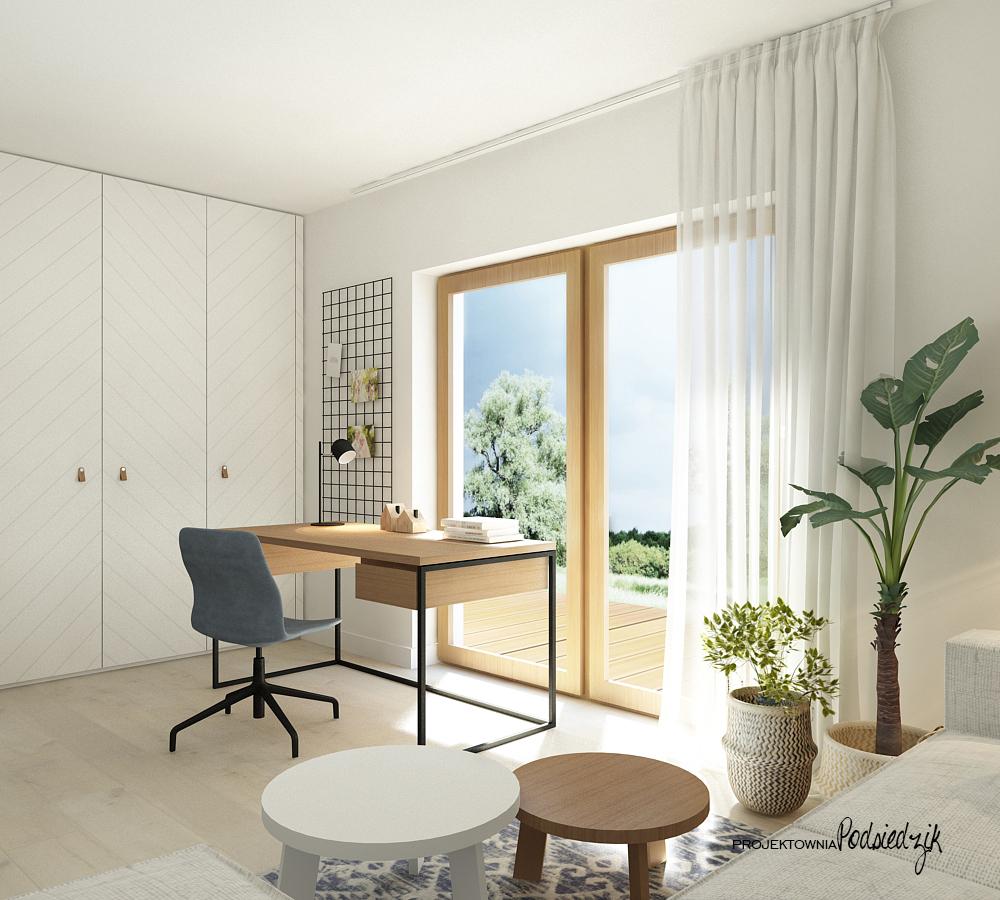 Projekt wnętrza domu Olesno - projekt pokoju do pracy