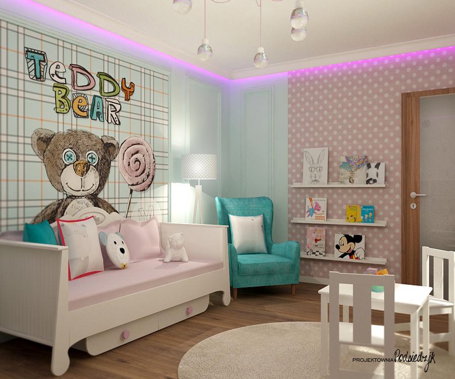 Projektowanie pokoi dziecięcych Kluczbork Olesno Opolskie - pokój dziecięcy projektdla dziewczynki projekt