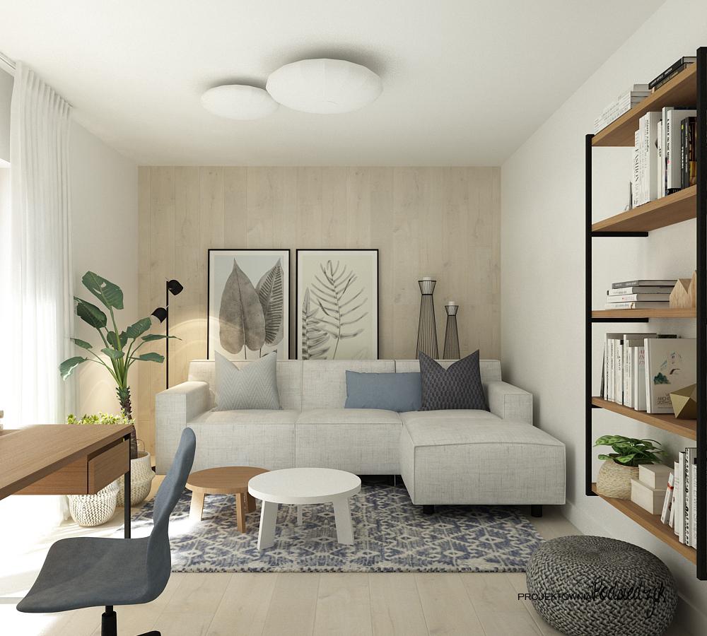 Projekt wnętrza domu Olesno - projekt pokoju gościnnego