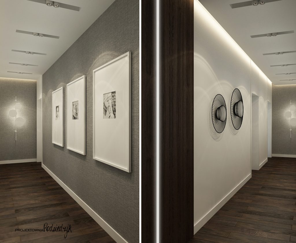 Architekt wnętrz - projekt domu przedpokuj w nowoczesnym stylu Olesno