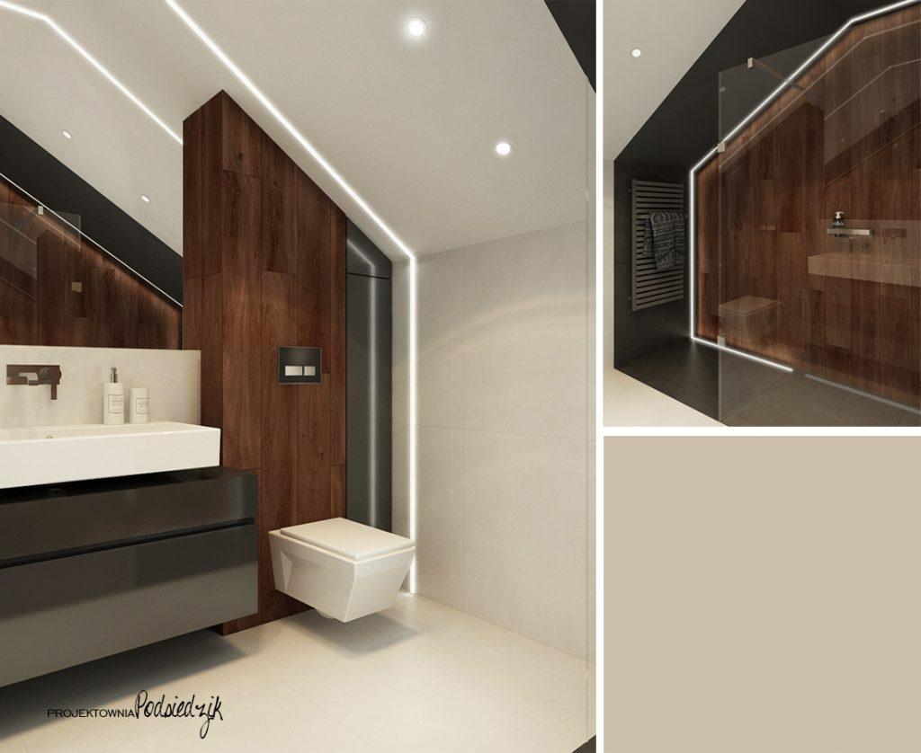 Projektant wnętrz - projekt domu łazienki w nowoczesnym stylu Olesno