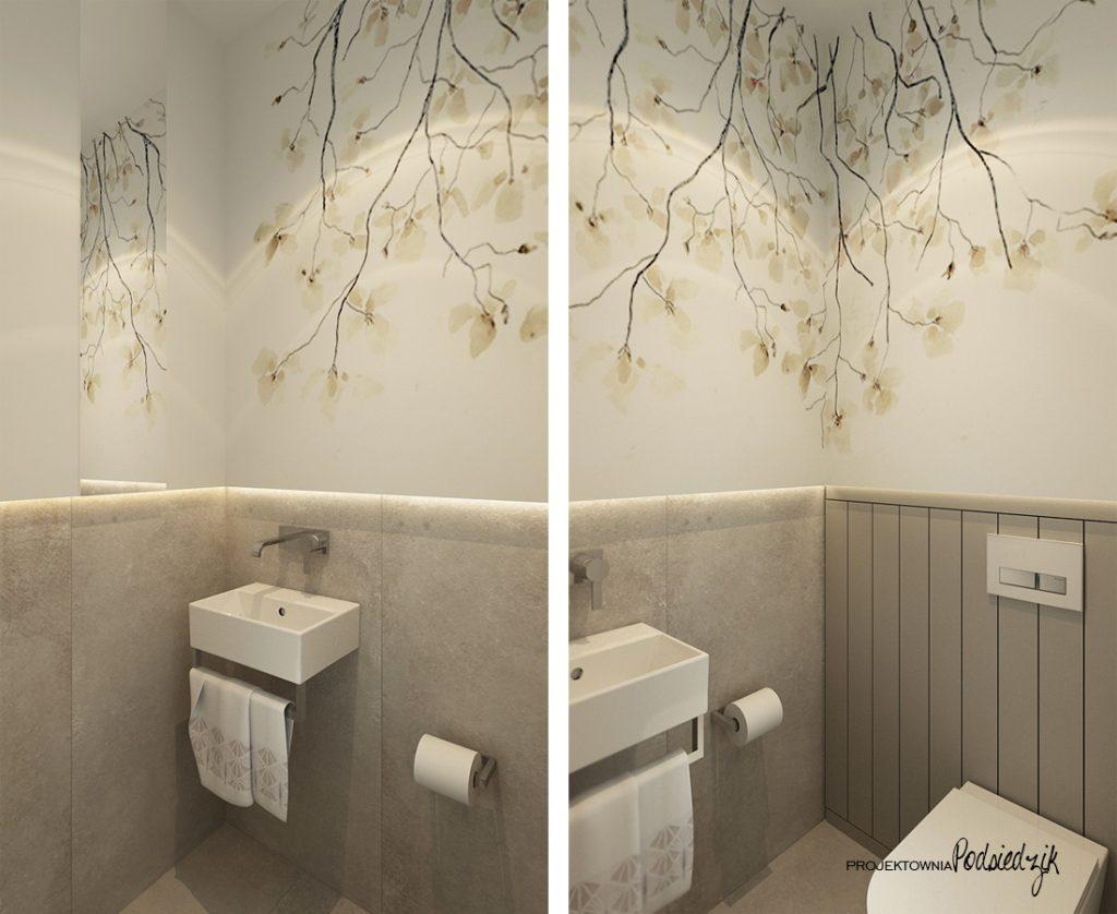 Projektant wnętrz - projekt domu toalety w nowoczesnym stylu Olesno