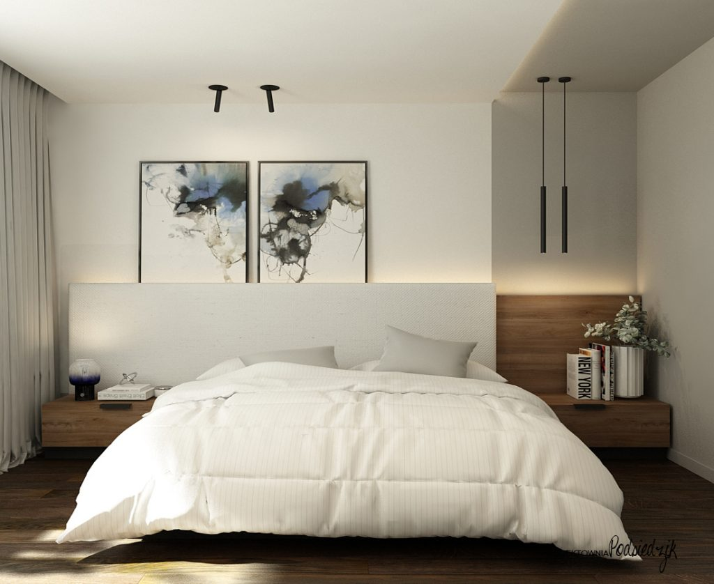 Projektant wnętrz - projekt domu sypialni w nowoczesnym stylu Olesno