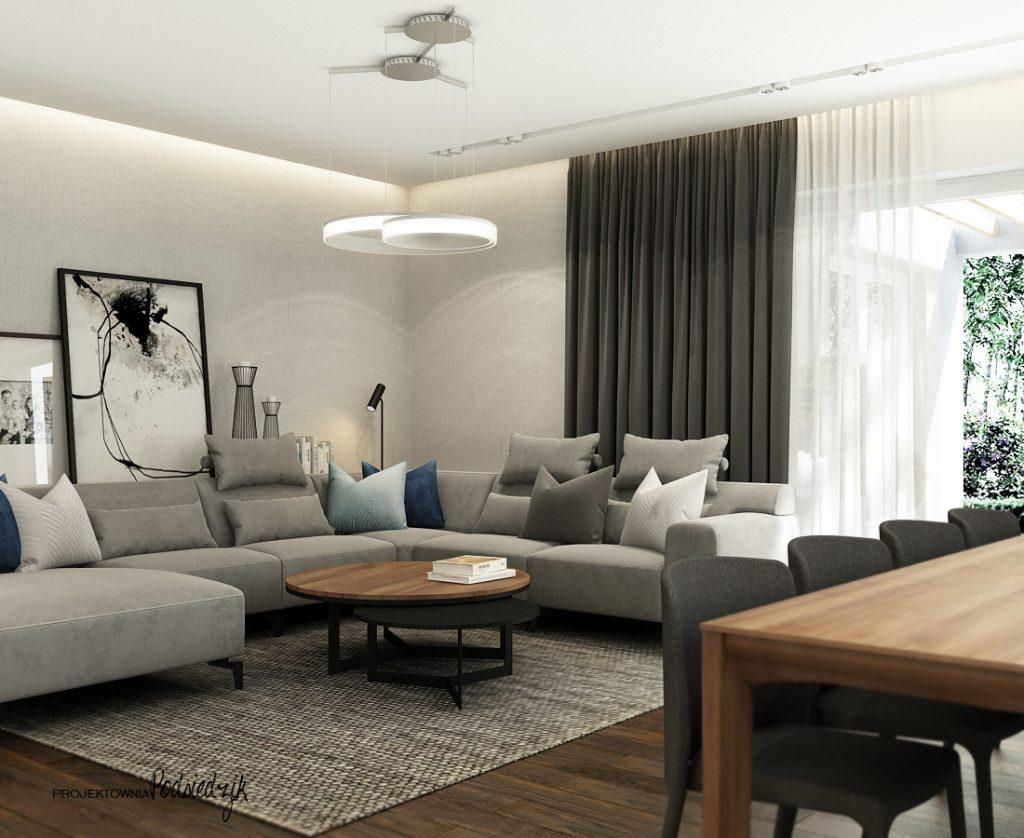 Projekt wnętrza domu salonu jadalni w nowoczesnym stylu Olesno