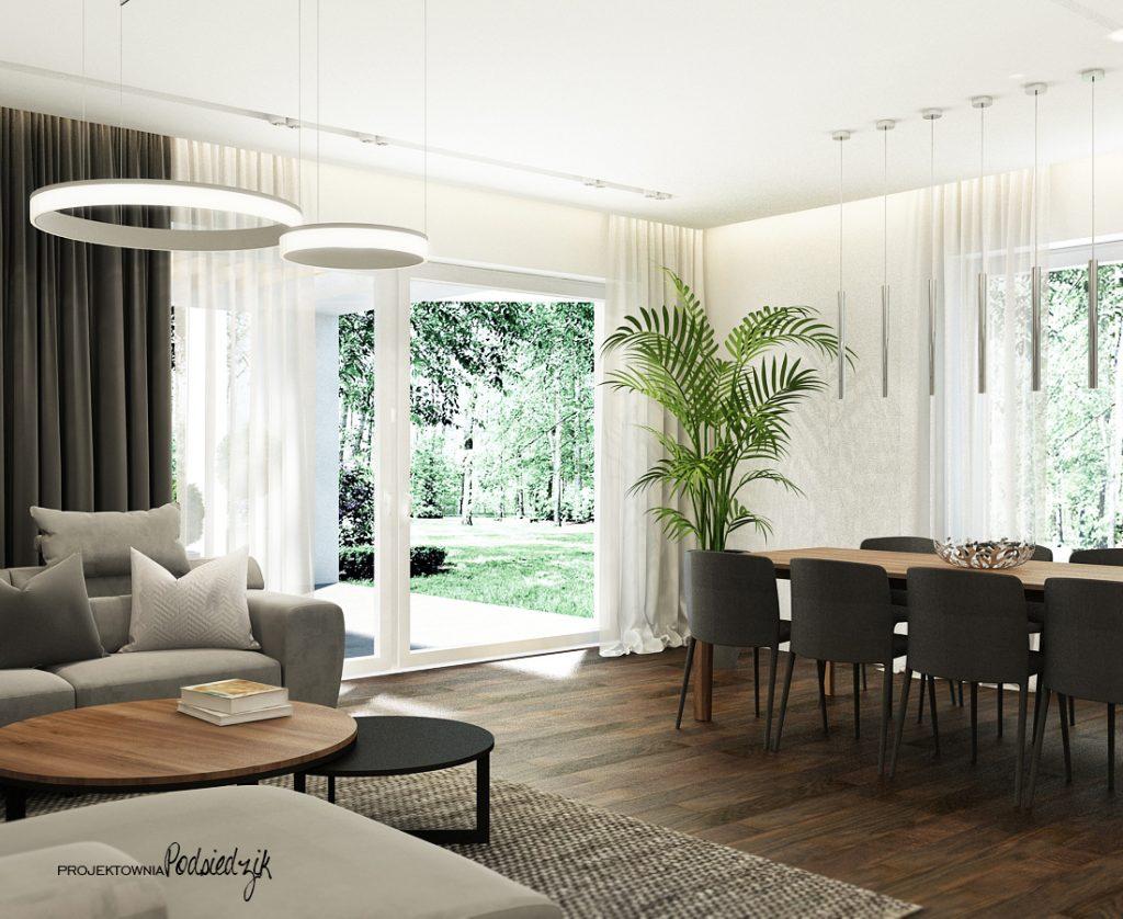 Dekorator wnętrz - projekt domu salonu jadalni w nowoczesnym stylu Olesno