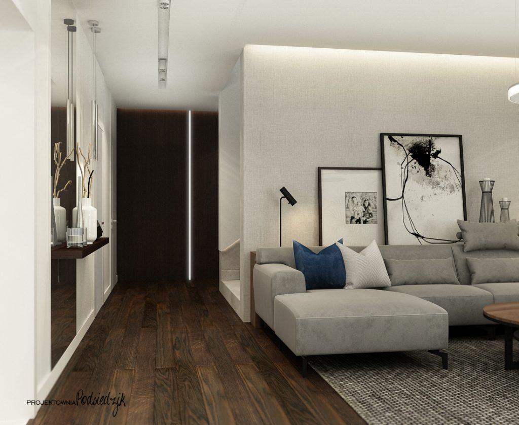 Architekt wnętrz - projekt domu salonu jadalni w nowoczesnym stylu Olesno