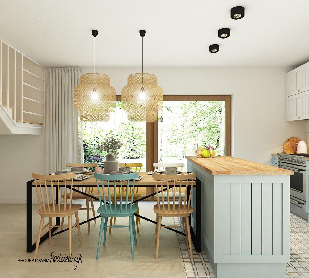 Projektant wnętrz Olesno - projekt jadalni z kuchnią