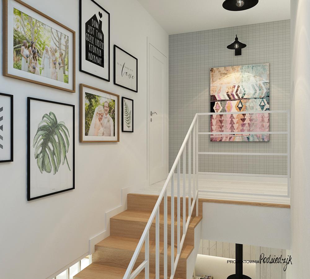 Projekt wnętrza domu Olesno - projekt klatki schodowej