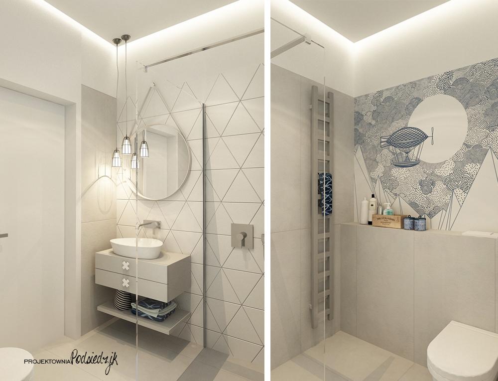 Projekty pokoi Olesno - projekt łazienki dla dziewczynki Olesno