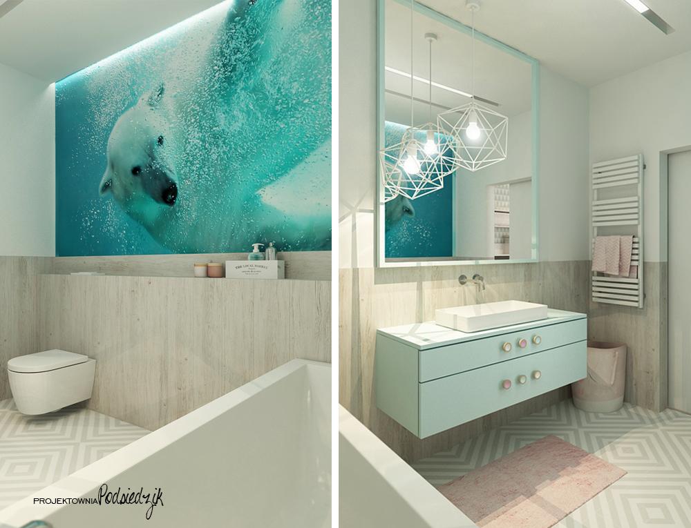 Projektowanie wnętrz Olesno - projekt łazienki dla dziewczynki Olesno