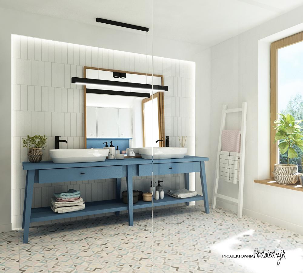 Projekt wnętrza domu Olesno - projekt łazienki z prysznicem