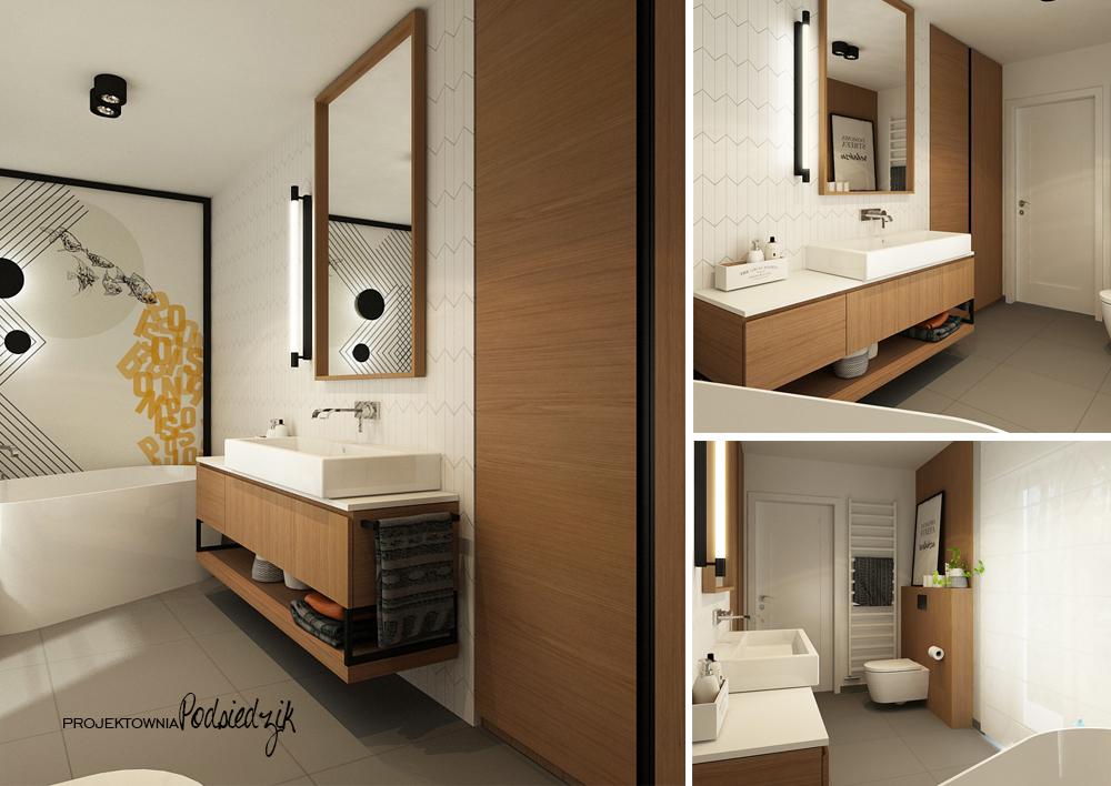 Projekt wnętrza domu Olesno - projekt łazienki z wanną