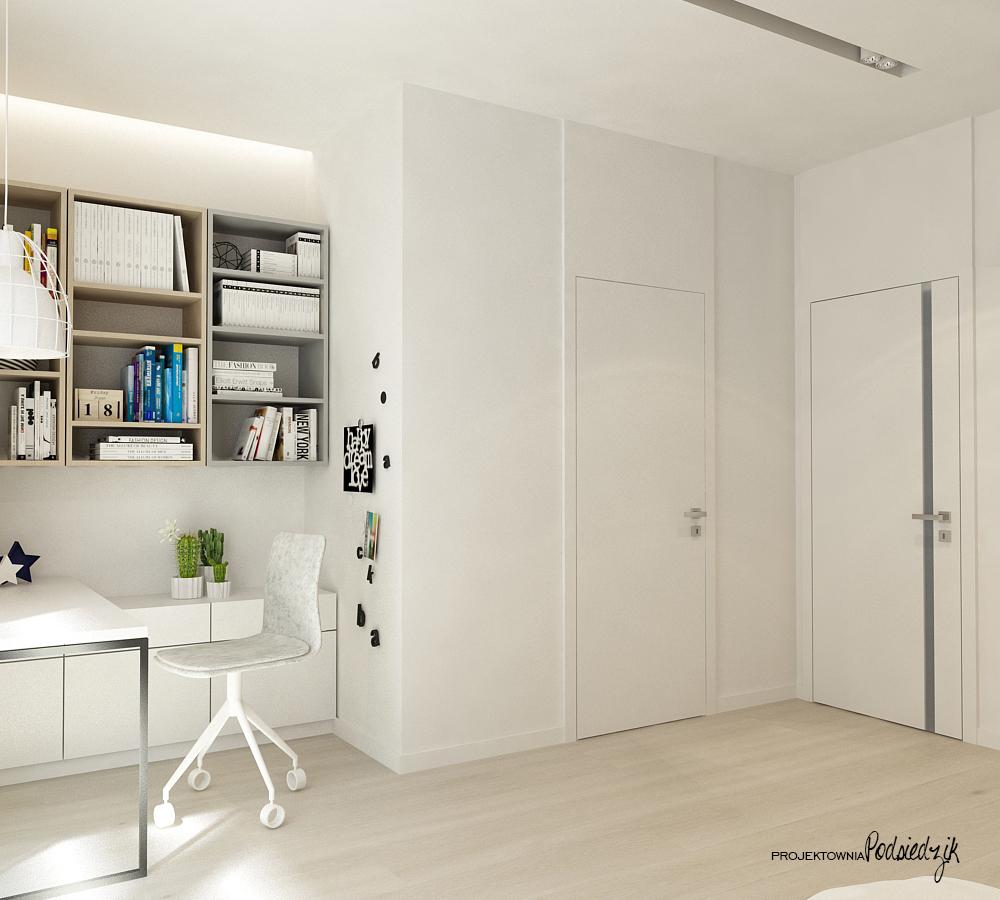 Projekty wnętrz Olesno - projekt białego pokoju dziewczynki Opolskie