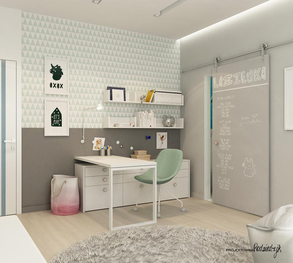 Projektowanie wnętrz Olesno - projekt skandynawskiego pokoju dziewczynki Opolskie