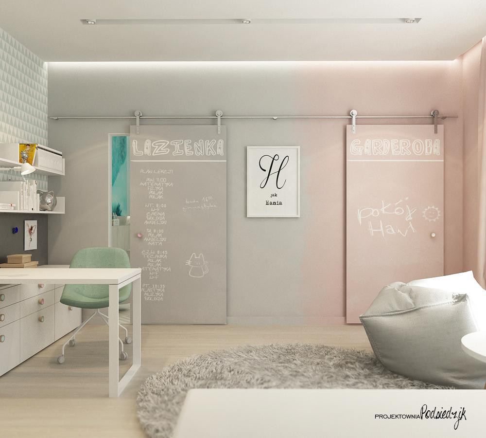 Projektowanie wnętrz Olesno - projekt nowoczesnego pokoju dziewczynki Opolskie