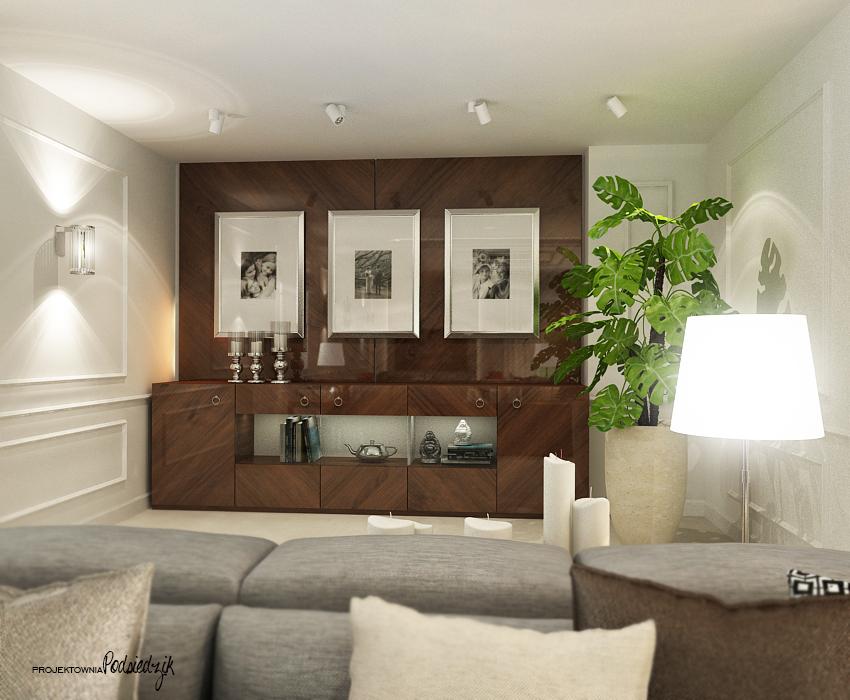 Projekt salonu w domu jednorodzinnym - Olesno, Opolskie