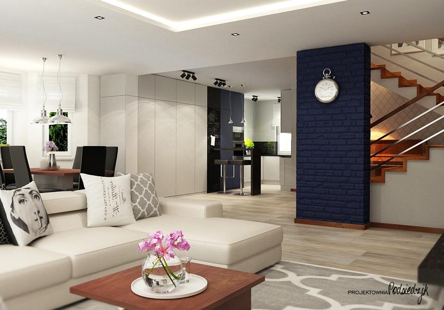 Projektowanie wnętrz Kluczbork Olesno Opolskie - projekt wnętrza salonu z jadalnią