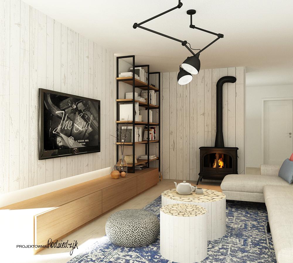 Projektowanie wnętrz Olesno - projekt salonu z kominkiem