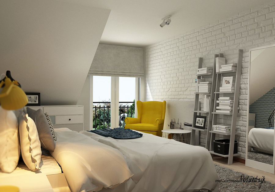 Projektowanie wnętrz Kluczbork Olesno Opolskie - projekt wnętrza sypialni na poddaszu
