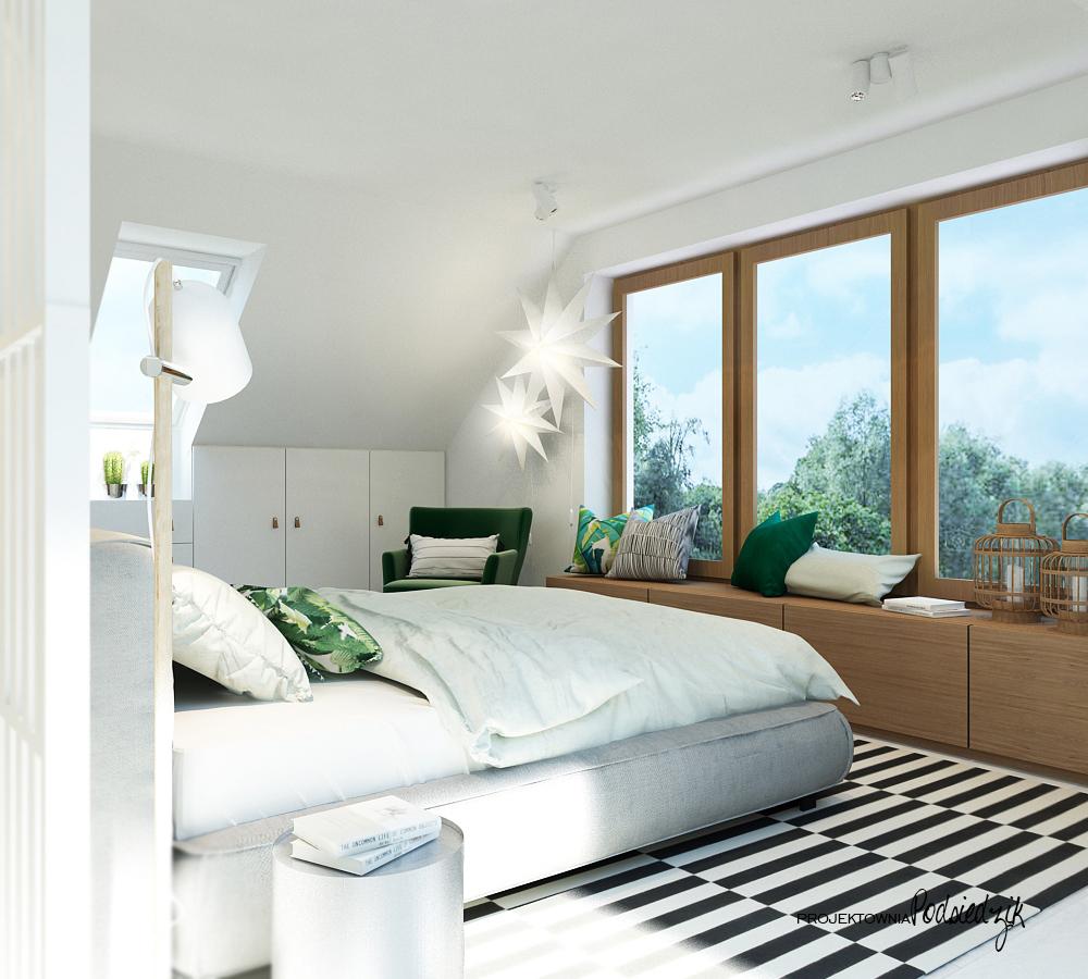 Projekt wnętrza domu Olesno - projekt sypialni na poddaszu