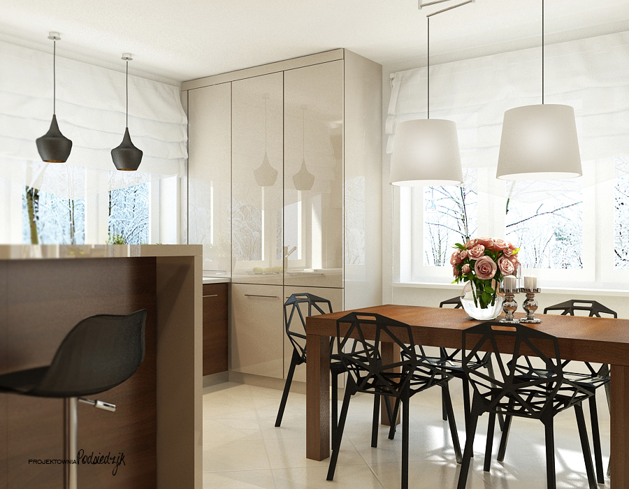 Projekt wnętrza domu jadalni - projektant wnętrz Kluczbork Olesno Opolskie