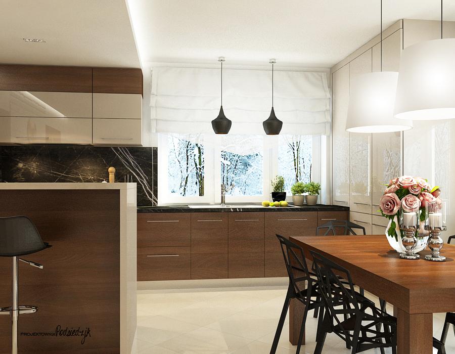 Projekt wnętrza domu kuchni - architekt wnętrz Kluczbork Olesno Opolskie