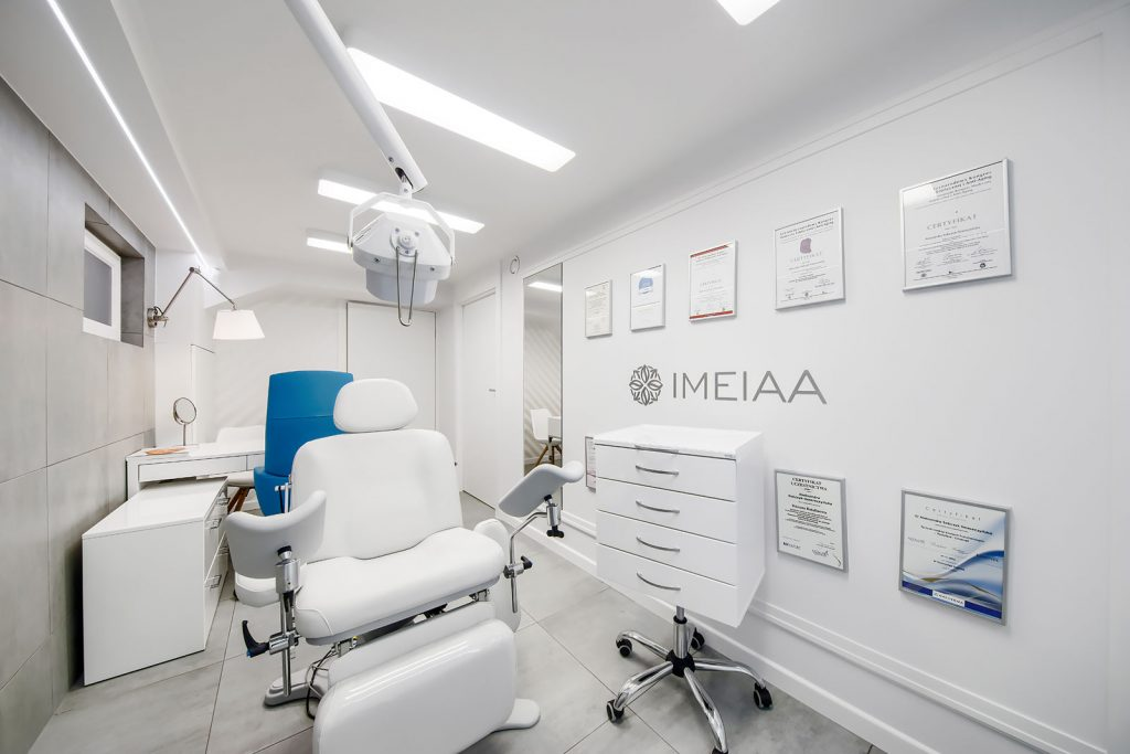 Projekt wnętrza gabinetu medycyny estetycznej IMEIAA - projektowanie wnętrz punktów usługowych Kluczbork Olesno Opolskie