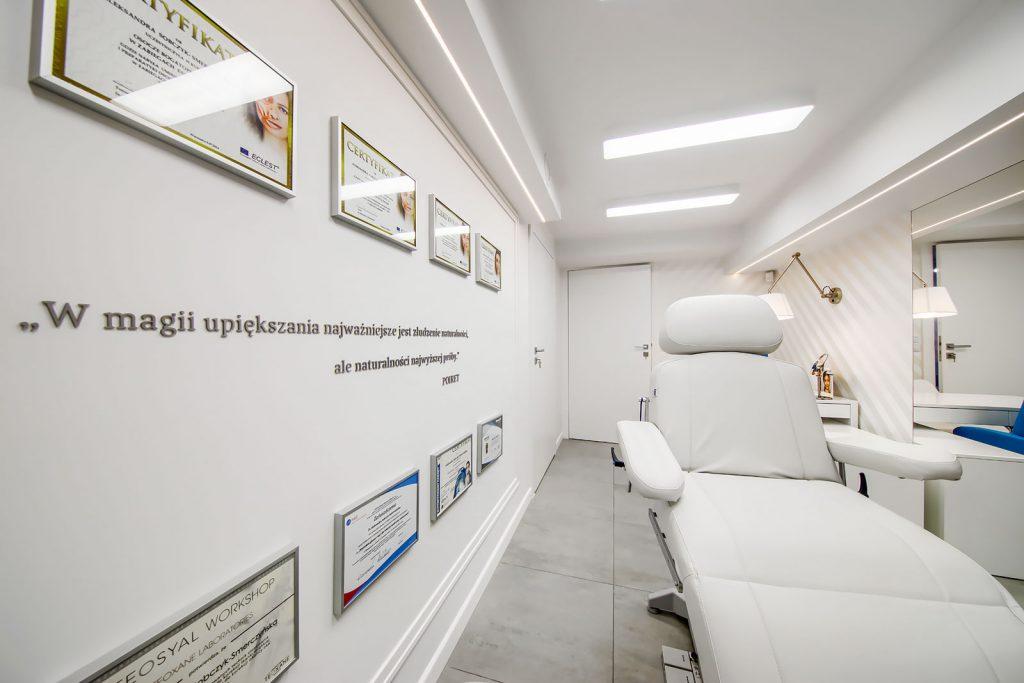 Projekt wnętrza gabinetu medycyny estetycznej IMEIAA - projektowanie wnętrz publicznych, komercyjnych Kluczbork Olesno Opolskie