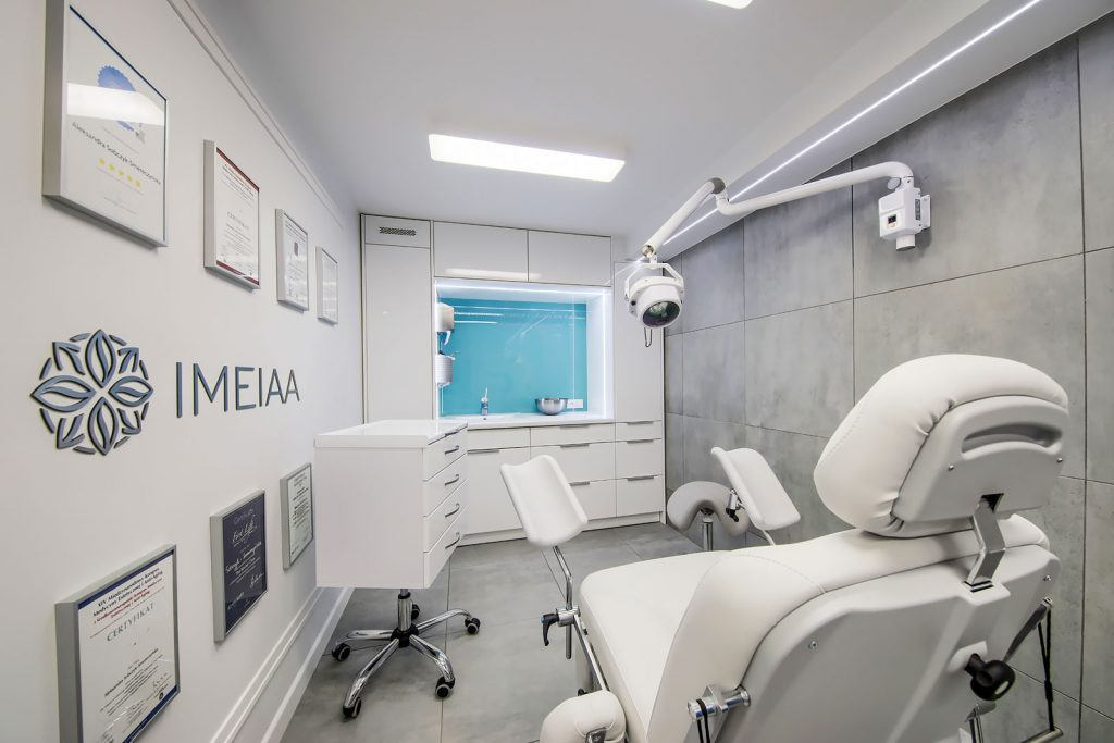 Projekt wnętrza gabinetu medycyny estetycznej IMEIAA - projekty wnętrz lokali użytkowych Kluczbork Olesno Opolskie